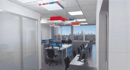 Rendering of a shared work space in the new facility